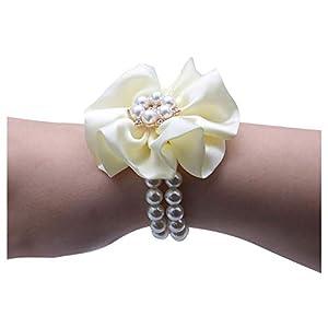 HappyERA Crystal Wrist Corsage Bridesmaid Pearl Hand Flowers Bride Wrist Flowers for Wedding 16