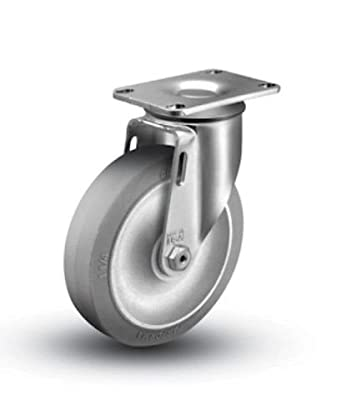 "1 Colson Swivel Caster w 5"" TPE Gray Soft Rubber Wheel / 325# Cap."