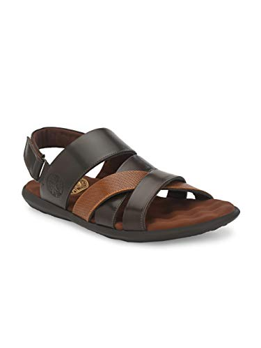 UNDERROUTE Mens Faux Leather Sandals with Orthopaedic Footbed