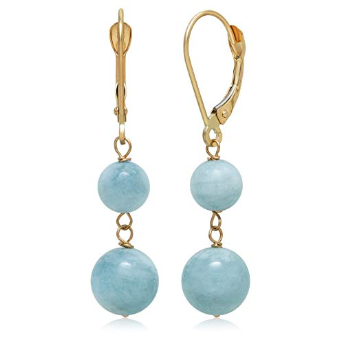 14k Yellow Gold Natural Aquamarine Drop Earrings for Women