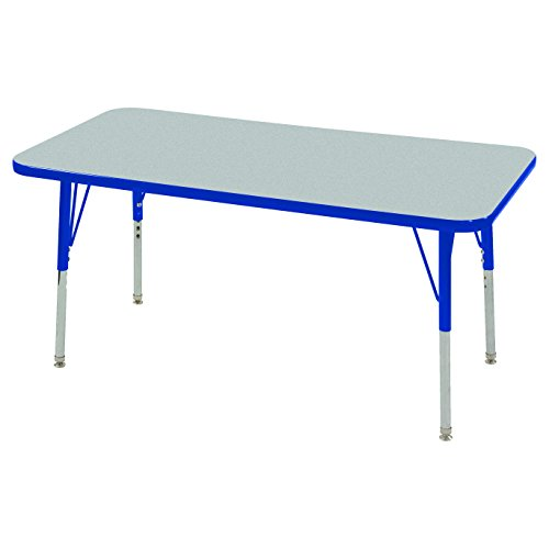 ECR4Kids Mesa Thermo-fused 24'' x 48'' Rectangular School Activity Table, Toddler Legs w/ Swivel Glides, Adjustable Height 15-23 inch (Grey/Blue) by ECR4Kids