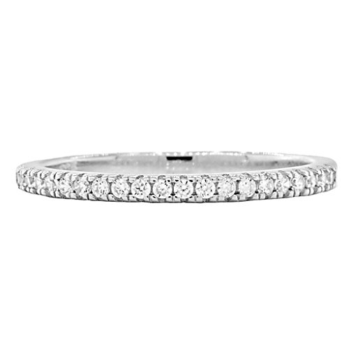 Acotas B: 0.315ct Russian Ice on Fire CZ Semi-Eternity Wedding Band Ring 925 Silver, 3281 sz (Round Solitaire Semi Eternity Ring)