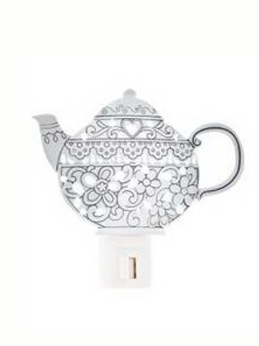 Pewter Metal Rounded OrnateTeapot Night Light by (Pewter Night Light)
