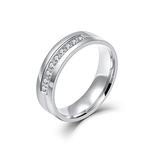 Chryssa 6mm Titanium Steel Carbide Ring with Brilliant CZ Diamonds Mens Wedding Band 5 to 12(SZZ-08) (Size 7)