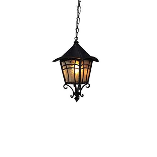 American Retro Outdoor Aluminum Chandelier Garden Ceiling Lamp Street Antique Metal 1-Light Transitional E27 Pendant Hanging Lantern -