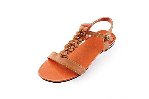 BalaMasa donna Open toe fibbia solido no-heels sandali, Arancione (Orange), 35
