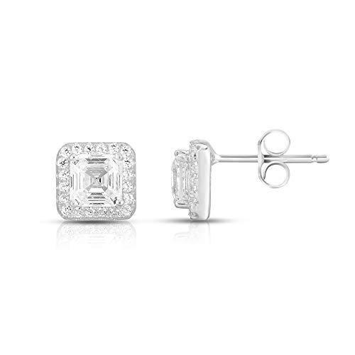 Rhodium Plated 925 Sterling Silver Asscher Cut Cubic Zirconia Halo Stud Earrings (Stud Asscher)