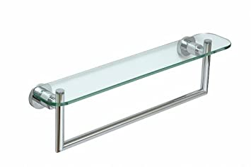 Ocean Glass Bathroom Shelf With Towel Rail, Chrome