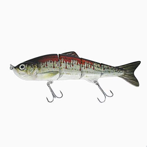 Thomify Hard Multi-Jointed Fishing Lure Swimbait Topwater Crankbait for Bass Trout Musky Pike 4.7''/0.67 oz (Z03-06)