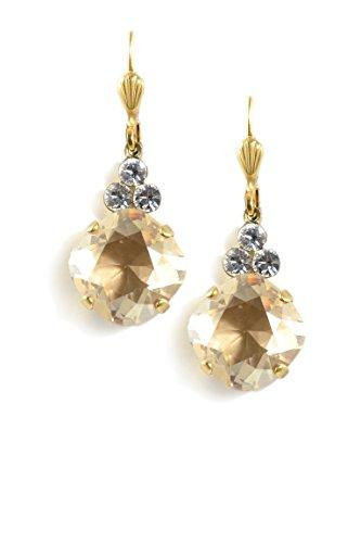 Clara Beau LtGold color Swarovski Glass Crystal 3-Stone Accent GoldTone Earrings EAM215 ()