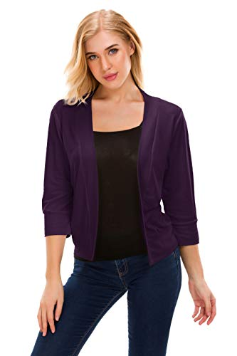 Womens Open Front Cardigans Classic 3/4 Sleeve Cropped Bolero Shrug Short Cardigans (Purple, XL)