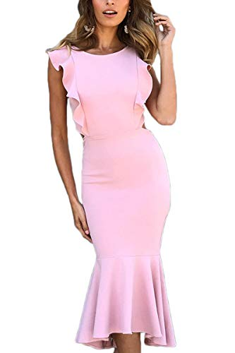 QINSEN Women Cocktail Dress Sexy Ruffle Cap Sleeve Open Back Fishtail Bodycon Cocktail Midi Dress Pink S ()