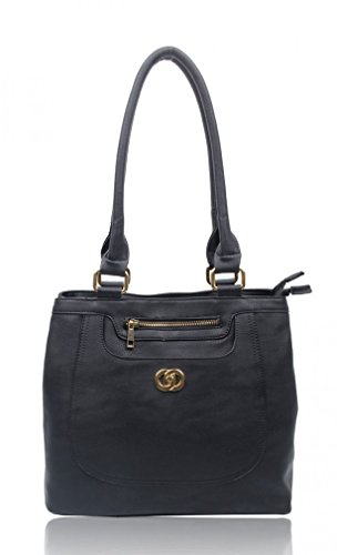 Girls Leahward School Size Medium Tote Work Grab Bag Women Handbags Black Faux Leather Shoulder For fgSFq