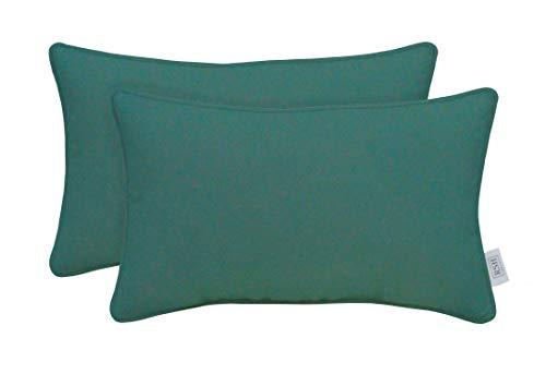 Indoor Outdoor Decorative Corded Lumbar Rectangle Throw Pillow Zipper Covers Made of Sunbrella Canvas Aruba (Cover + Insert, 20