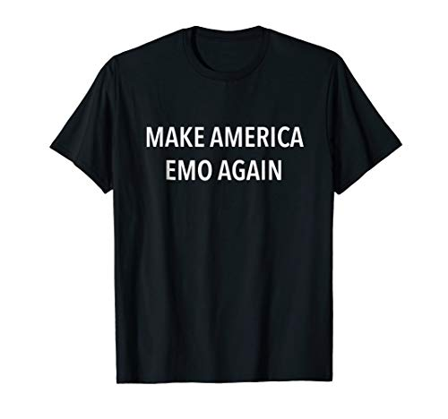 Mens Make America Emo Again T-Shirt Large Black
