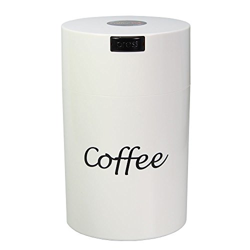 Coffeevac 1 lb - The Ultimate Vacuum Sealed Coffee Container, White Cap & Body w/Logo 1 Lb Container