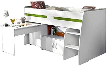 hochbett aljoscha Color Blanco Incluye escritorio + cómoda + ...