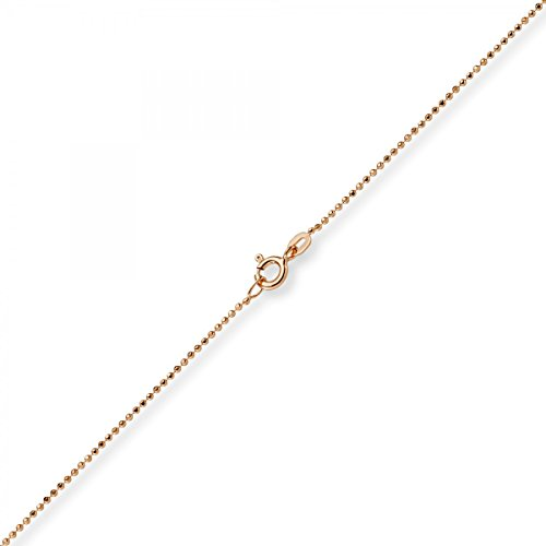 1mm Chaîne Boule diamanté Chaîne Or Collier en or rouge 750, 38cm