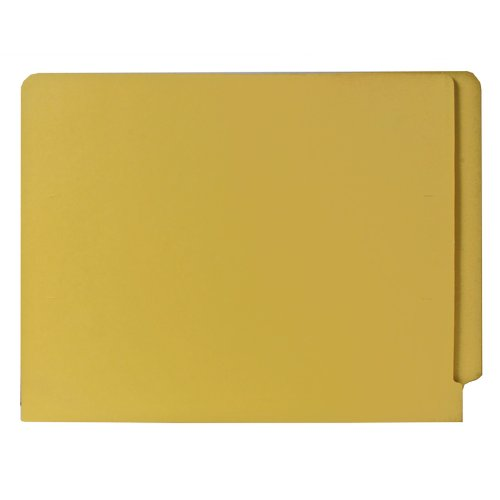 Smead Colored End Tab File Folder, Shelf-Master Reinforced Straight-Cut Tab, Letter Size, Yellow, 100 per Box (25910)
