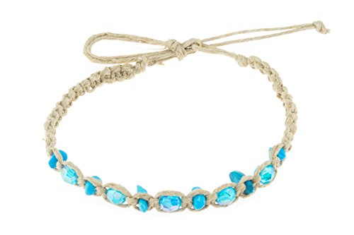 BlueRica Hemp Anklet Bracelet with Dyed Howlite Stone Chips & Turquoise Blue Beads
