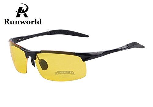 Runworld Mens HD Night View Night Vision Anti-glare Non-polarized & Polarized Wayfarer Avaitor Rimless Wraparound Wrap around Driver's Yellow Driving Glasses Sunglasses Goggles - Goggles Around Wrap