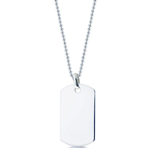 Mens Or Women ID Dog Tag. Stainless Steel AAA Quality. Your Choice of Box, Rolo or Bead Chain From 18 inch to 28 inch. Free Engraving