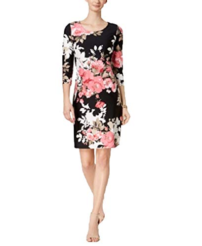 Charter Club Printed Shift Dress (Deep Black Floral Combo, XL)