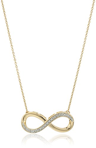 18K Yellow Gold over Sterling Silver Diamond Accent Infinity Pendant Necklace, (18k Over Sterling Silver Pendant)