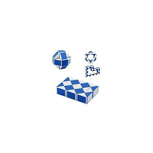 Snake Cube - Leoie shengshou Snake Magic Ruler Twist Puzzle Cube, Blue/White