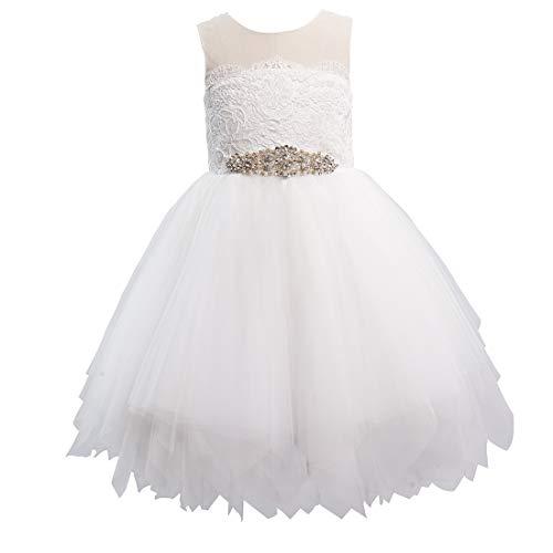 Miama Lace Tulle Keyhole Back Wedding Flower Girl Dress Junior Bridesmaid Dress Ivory