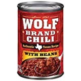 Wolf Brand, Chili with Beans, Authentic Texas Recipe, 15oz Can (Pack of 6)