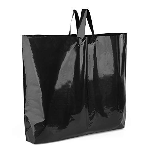 60 Large Black Retail Merchandise Plastic Bags 19.5'' x 15'' x 2'' Gusset, 3 mil Thick, Glossy Shopping Bags with Handles for Clothes Shoes Books Shop Store Boutique