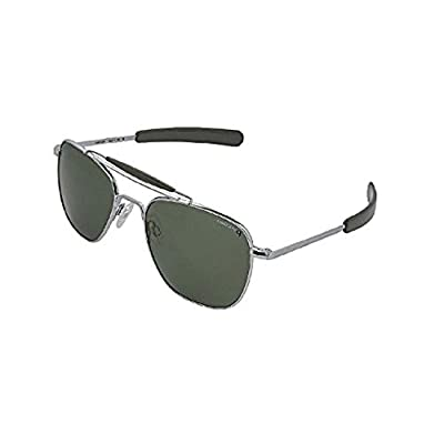Randolph Aviator Bright Chrome Bayonet Temple AGX (Slight Green Tint) Polarized Sunglasses