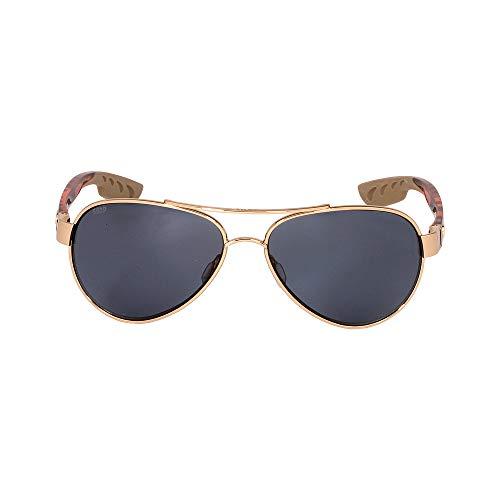 Costa del Mar Loreto Polarized Aviator Sunglasses, Rose Gold, 56.5 mm (Costa Aviators)