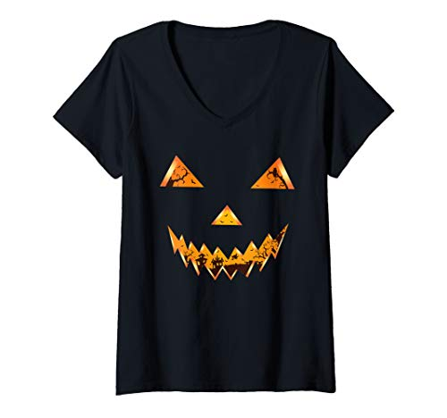 Halloween Witch Faces Pumpkins (Womens Scary Spooky Pumpkin Face Evil Witch Town Halloween Design V-Neck)