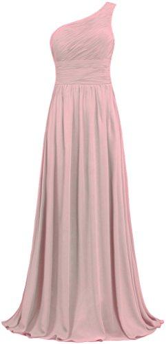 ANTS Women's Pleat Chiffon One Shoulder Bridesmaid Dresses Long Evening Gown Size 10 US Blush