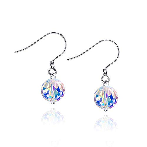 925 Sterling Silver Aurora Borealis Swarovski Crystal Statement Beaded Pendant Necklace, Dangle Earring and Strand Bracelet Jewelry Set for Women and Girls (beaded dangle earring only)