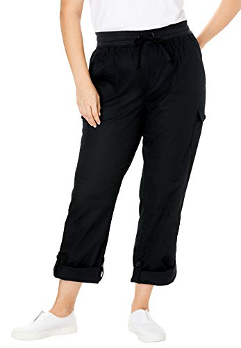 Woman Within Women's Plus Size Convertible Length Cargo Pant - Black, 22 W ()