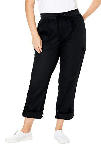 Woman Within Women's Plus Size Convertible Length Cargo Pant - Black, 18 W (Size Plus For Pants Women Cargo)