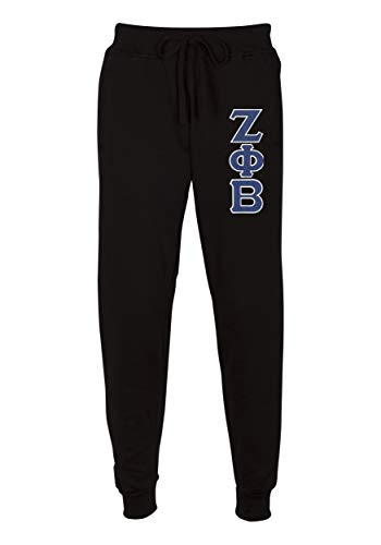 Zeta Phi Beta Embroidered Twill Letter Joggers Black Royal XX-Large