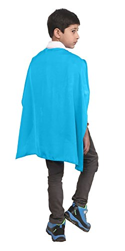 Childrens Super Hero Deluxe Satin Capes Boys Girls Fancy Dress Book Week Costume#(Turquoise Satin Childrens Cape WF4547#40 (Book Week Costume)