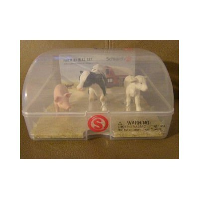 - SCHLEICH FARM ANIMAL SET IN SNAP CASE PIG COW LAMB