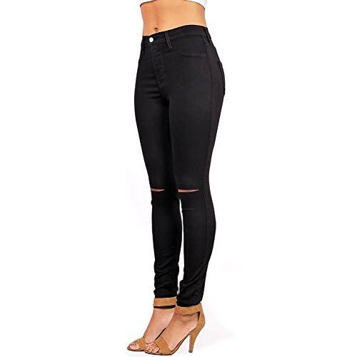 63352df13 cheap Vibrant Women's Juniors Ripped Knee High Waist Jeggings - url ...