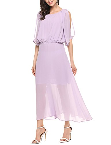 Long Maxi ANGVNS Chiffon Off Casual Purple Beach Summer Flowy Dress Women's Shoulder 4Ianwg0Sa