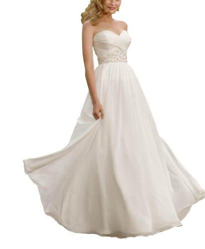 mit Schatz BRIDE Gericht Applikationen Chiffon Zug Weiß Spalte Abendkleid Perlen GEORGE Mantel t8wxAqwS