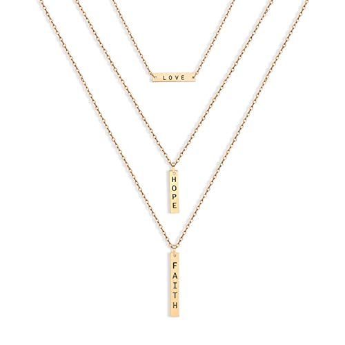 Bar 3 Strand - CEALXHENY 3PC Layered Bar Pendant Necklaces Boho Stick Bar Choker Necklace Minimalist Y Necklaces for Women Girls (F 3PCS Gold)