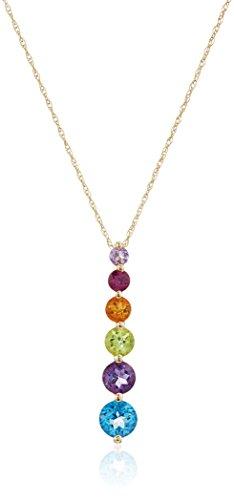 "10k Yellow Gold Multi Semi-Precious Gemstone Pendant Necklace, 18"""