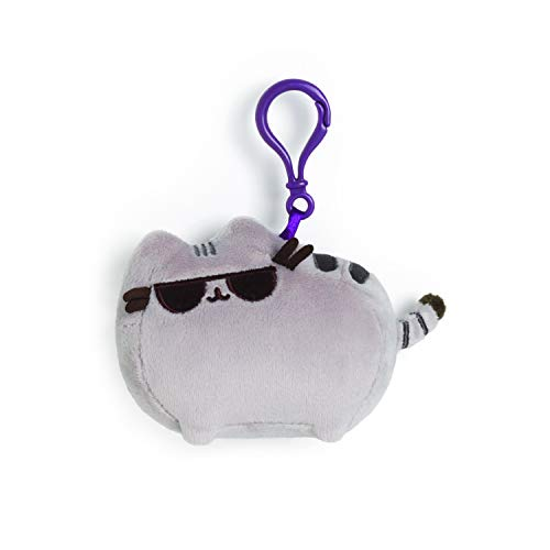 GUND Pusheen with Sunglasses Cat Plush Stuffed Animal Backpack Clip, Gray, 4.5