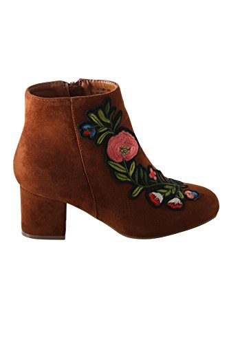 Hadari Womens Floral Embroidery Ankle Bootie