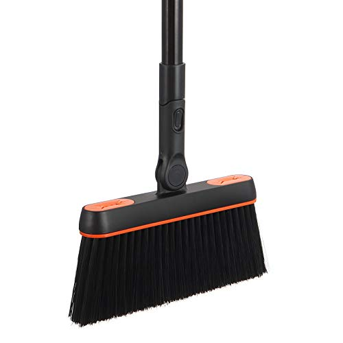 Broom 46'' Detachable Long Handle 180° Rotating Head with Cloth Gripper Heavy-Duty Indoor Brooms with Extension Pole for Sweeping Floor Cleaning